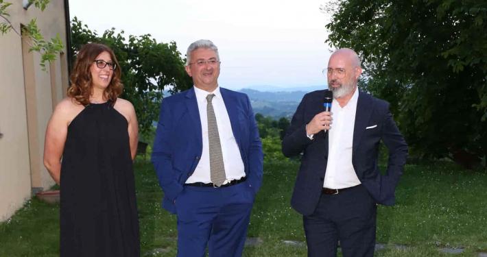 Cristina e Alberto Fiorini con Stefano Bonaccini al centenario poderi fiorini